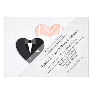 Bride & Groom Inside Heart Wedding Invitation