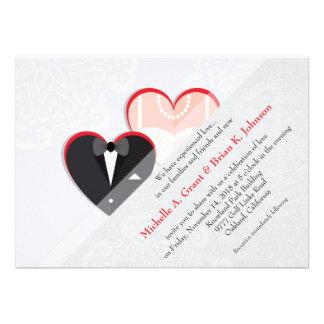 Bride & Groom Inside Red Heart Wedding Invitation