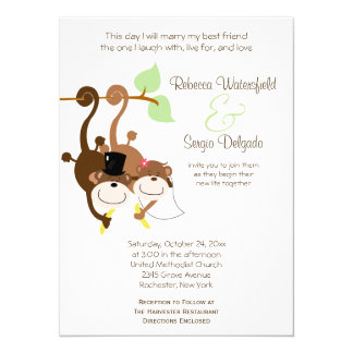 Bride/Groom Monkeys Offbeat Wedding Invitation