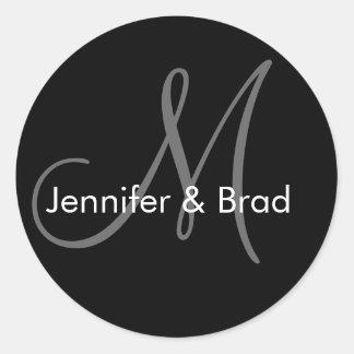 Bride Groom Names Monogram Wedding Sticker
