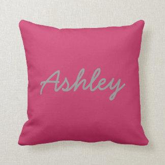 Bride Groom Names Reversible Pink Grey Throw Pillow