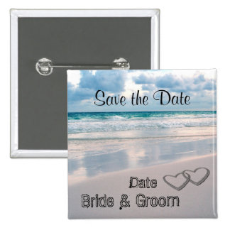 Bride & Groom Names Written in the Sand 2 Inch Square Button