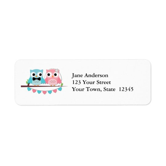 Bride, Groom Owls Return Address Label