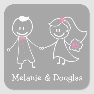 Bride & Groom Pink & Gray Personalized Wedding Square Sticker