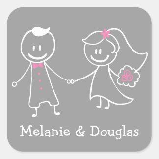 Bride & Groom Pink & Gray Wedding Announcement Square Sticker