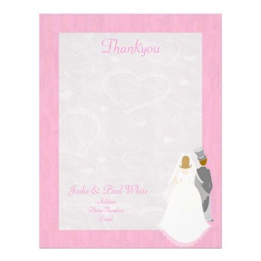 Bride & Groom - Pink - Thankyou Letterhead
