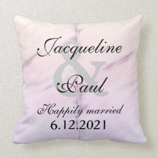 Bride Groom Purple Watercolor Reversible Pillow
