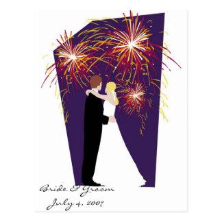 Bride & Groom Save the Date-July 4th Weddings Postcard