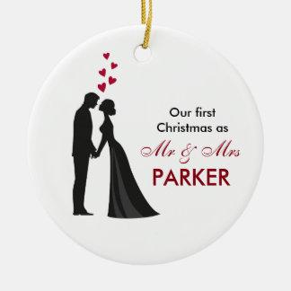 Bride groom silhouette christmas tree ornament
