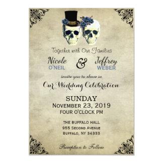 Bride & Groom Skull Goth Rustic Wedding Blue Card