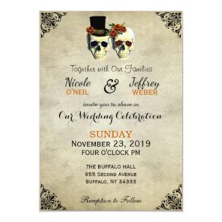 Bride & Groom Skull Goth Rustic Wedding Orange Card