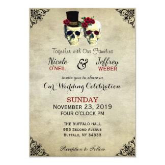 Bride & Groom Skull Goth Rustic Wedding Red Card