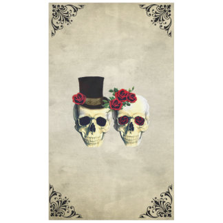 Bride & Groom Skull Goth Rustic Wedding Tablecloth