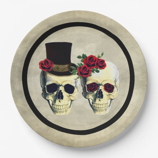 Bride & Groom Skull Wedding 9 Inch Paper Plate