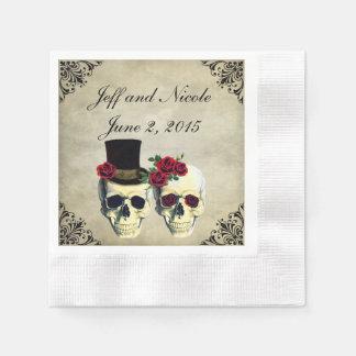 Bride & Groom Skull Wedding Disposable Napkins