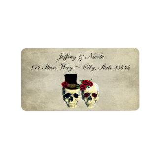 Bride & Groom Skull Wedding Label
