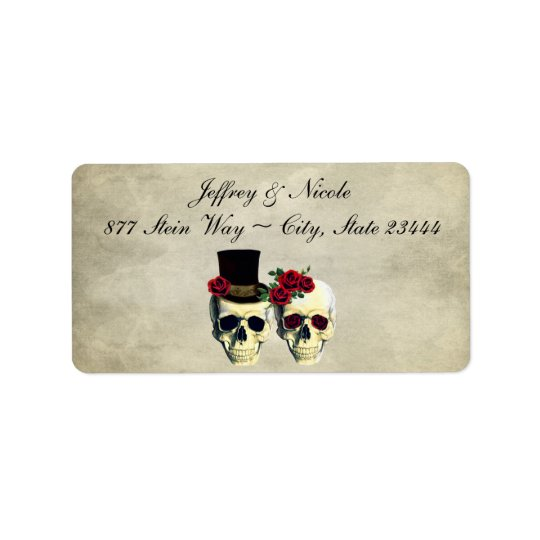 Bride & Groom Skull Wedding Label