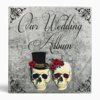 Bride & Groom Skull Wedding Photo Album Vinyl Binder