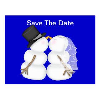 BRIDE & GROOM Snowman SAVE THE DATE Postcard