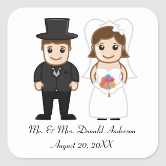 Bride & Groom - Square Sticker
