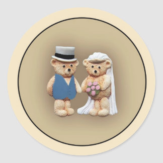 Bride & Groom Teddy Bears Classic Round Sticker
