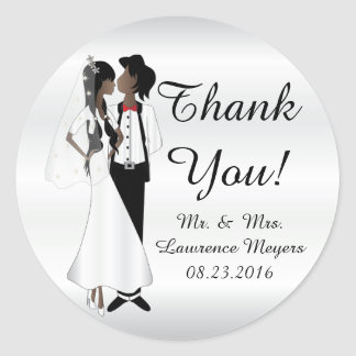 Bride & Groom Thank You Round Sticker