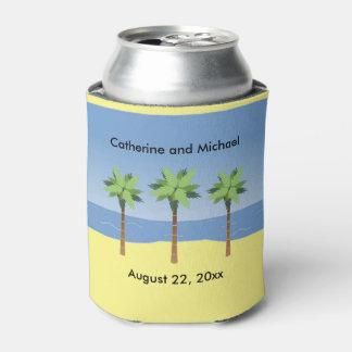 Bride Groom Wedding Favor Tropical Beach Palm Tree Can Cooler