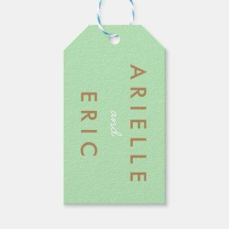 Bride & Groom Wedding Gift Tag Mint Green Brown