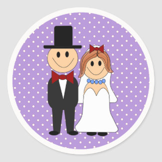 Bride & Groom Wedding Purple Polka Dot Stickers