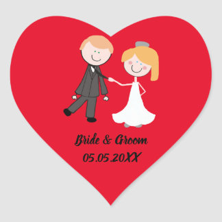 bride groom wedding team heart sticker