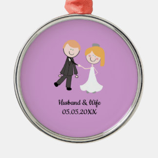 bride groom wedding team metal ornament