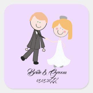 bride groom wedding team square sticker