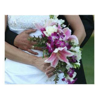 bride holding flowers groom behind painting customized letterhead