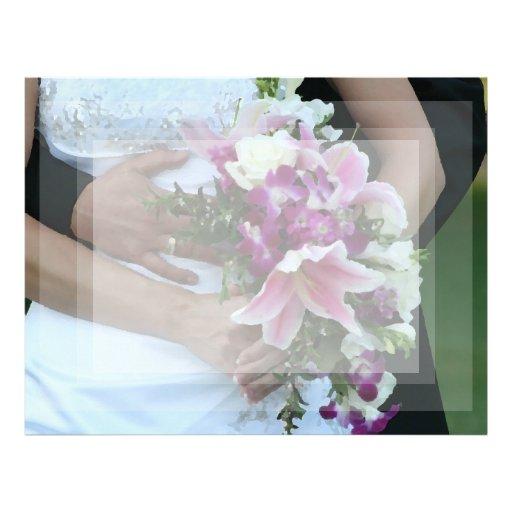 bride holding flowers groom behind painting letterhead template