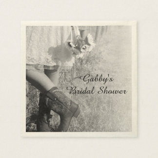 Bride in Cowboy Boots and Sunflowers Bridal Shower Disposable Napkin