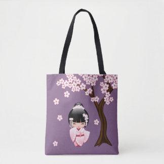 Bride Kokeshi Doll - Cute Oriental Geisha Girl Tote Bag