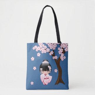 Bride Kokeshi Doll - White Kimono Geisha Girl Tote Bag
