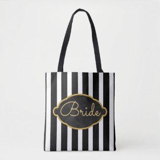 Bride Modern Black White Stripes Bridal Party Tote Bag