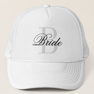 BRIDE monogram trucker hat for wedding party