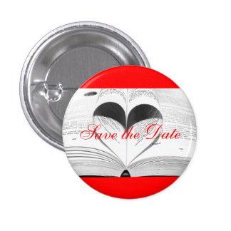 Bride Monogram Wedding Books Cute Save the Date 1 Inch Round Button