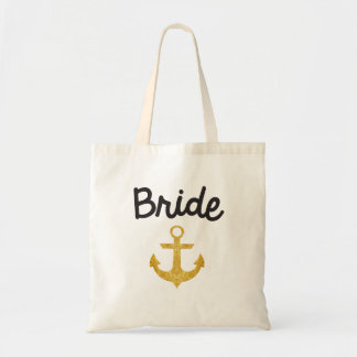 Bride Nautical Anchor Gold Foil Tote