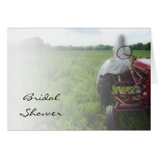 Bride on Farm Tractor Country Bridal Shower Invite