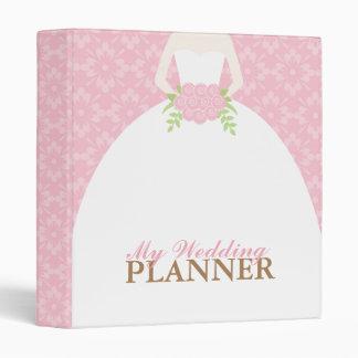 Bride on Pink Damask Pattern Wedding Binder