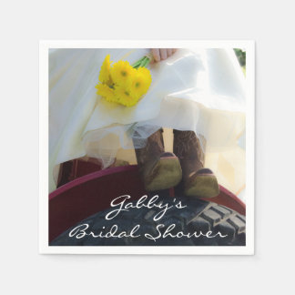 Bride on Tractor Country Farm Bridal Shower Paper Napkin
