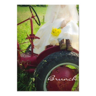 Bride on Tractor Country Farm Post Wedding Brunch Card