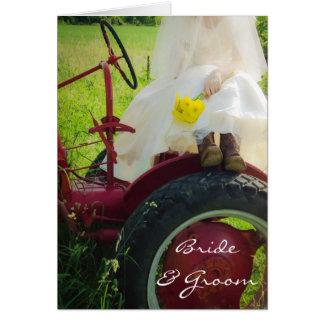Bride on Tractor Country Farm Wedding Invitation