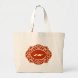 Bride or Bridesmaid Wedding Favor Orange Vintage 2 Large Tote Bag