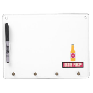 Bride Party Beer Bottle Z6542 Dry Erase Board With Keychain Holder