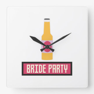Bride Party Beer Bottle Z6542 Square Wall Clock