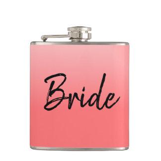 Bride Pink and Black Hip Flask